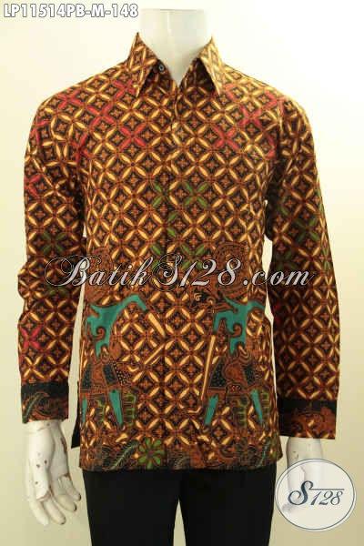 Busana Batik Kerja Pria Model Lengan Panjang, Pakaian Batik Solo Tren Masa Kini Motif Bagus Proses Printing Cabut, Cocok Juga Untuk Kondangan