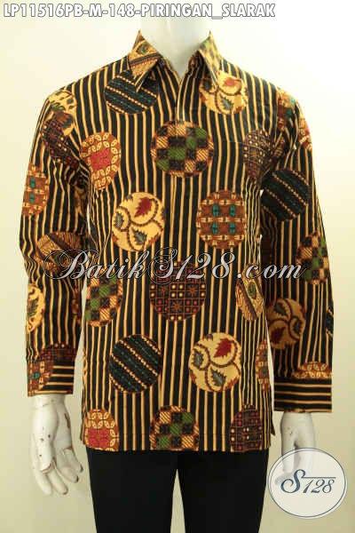 Baju Batik Pria Lengan Panjang Size M, Hem Batik Modis Dengan Motif Klasik Piringan Slarak Proses Printing Cabut, Elegan Untuk Kondangan Dan Modis Buat Ngantor