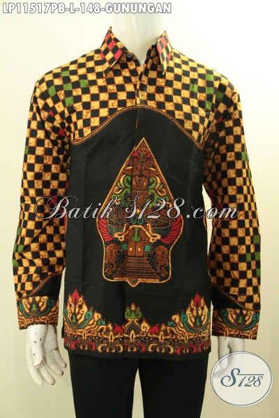Koleksi Busana Batik Pria Terbaru, Baju Batik Modis Lengan Panjang Motif Gunungan Bahan Adem Kwalitas Istimewa, Tampil Gagah Menawan