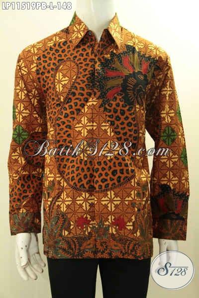 Jual Online Batik Kemeja Solo Lengan Panjang Motif Klasik Printing Cabut, Pakaian Batik Tren Model Masa Kini, Bisa Untuk Resmi Ataupun Santai