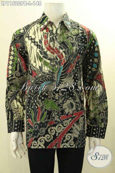 Baju Batik Solo Elegan Dan Mewah, Baju Batik Motif Bagus Lengan Panjang Proses Printing Cabut Hanya 148K, Cocok Buat Acara Formal
