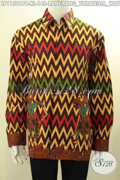 Busana Batik Halus Lengan Panjang Motif Rangrang, Kemeja Batik Formal Nan Berkelas Proses Printing Cabut, Elegan Untuk Rapat Ataupun Kondangan