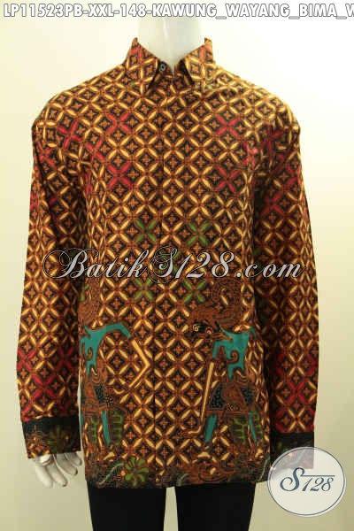 Busana Batik Dual Kombinasi Motif Kawung Dan Wayang Bima, Kemeja Batik Elegan Tangan Panjang Halus Desain Terkini, Penampilan Terlihat Gagah Menawan [LP11523PB-XXL]