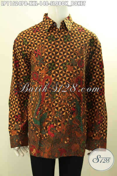 Baju Batik Lengan Panjang Motif Slobok Boket, Pakaian Batik Jumbo Nan Istimewa Proses Printing Cabut, Pas Banget Untuk Kondagan Dan Acara Formal