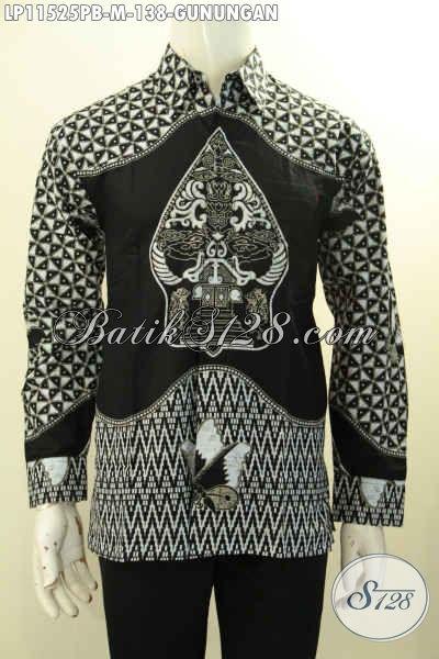 Kemeja Batik Monokrom Putih Hitam Motif Gunungan, Baju Batik Elegan Terbaik Model Lengan Panjang Bahan Halus Desain Elegan Dan Trendy, Tampil Tampan Menawan