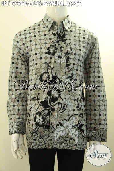 Batik Kemeja Lengan Panjang Buatan Solo, Baju Batik Elegan Motif Terkini Proses Printing Cabut, Istimewa Untuk Seragam Kerja