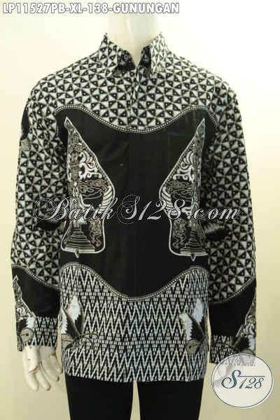 Hem Batik Pria Motif Gunungan Warna Hitam Putih, Kemeja Batik Monokrom Nan Elegan Kwalitas Bagus Proses Printing Cabut Hanya 138K