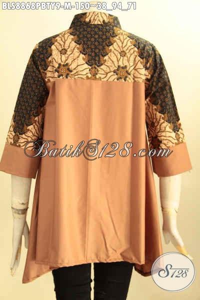 Batik Blouse Trendy Dengan Kombinasi Kain Polos Toyobo, Baju Batik Kerah Shanghai Lengan 3/4, Bikin Penamaapilan Cantik Dan Trendy
