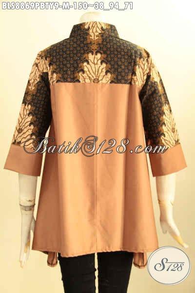 Koleksi Busana Batik Wanita Terkini, Blouse Batik Wanita Motif Klasik Berpadu Kain Katun Polos Toyobo Desain Kerah Shanghai, Tampil Elegan Modern