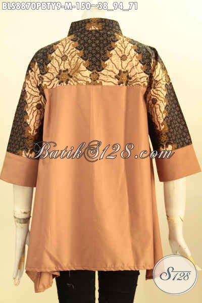 Busana Batik Wanita Trendy Edisi Terbatas, Blouse Kerah Shanghai Modis Lengan 3/4 Bahan Paduan Batik Dan Katun Polos Toyobo, Cocok Banget Untuk Ngantor