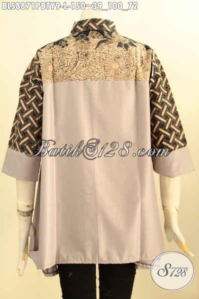 Jual  Online Blouse Batik Wanita Desain Istimewa Kerah Shanghai Ukuran L, Pakaian Batik Kerja Nan Modis Bahan Kombinasi Batik Dan Katun Toyobo Polos, Tampil Lebih Mempesona