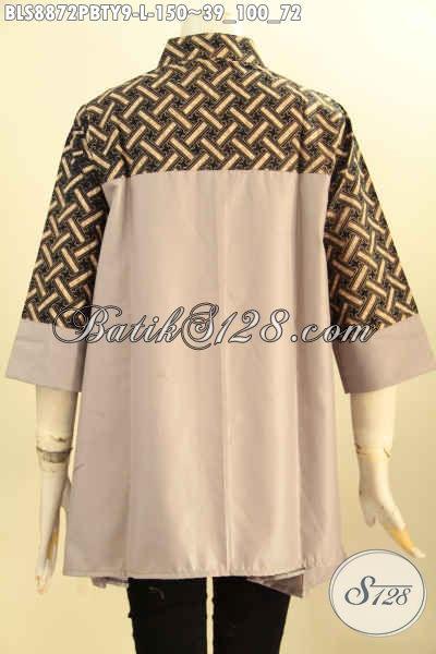 Produk Baju Batik Wanita Untuk Seragam Kerja, Blouse Kerah Shanghai Bahan Paduan Batik Dan Katun Polos Toyobo, Modis Juga Buat Jalan-Jalan