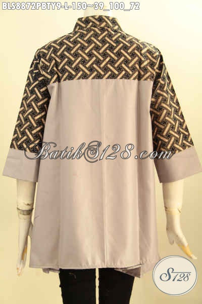 Model Baju Batik Kerja Nan Modis, Busana Batik Blouse Wanita Kekinian Kerah Shanghai Bahan Adem Motif Bagus Kombinasi Kain Katun Polos Toyobo, Tampil Cantik Mempesona [BLS8872PBTY-L]