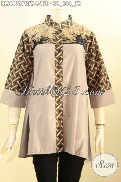 Butik Batik Online Sedia Blouse Elegan Kerah Shanghai Motif Klasik Paduan Kain Polos Toyobo, Istimewa Buat Ke Kantor