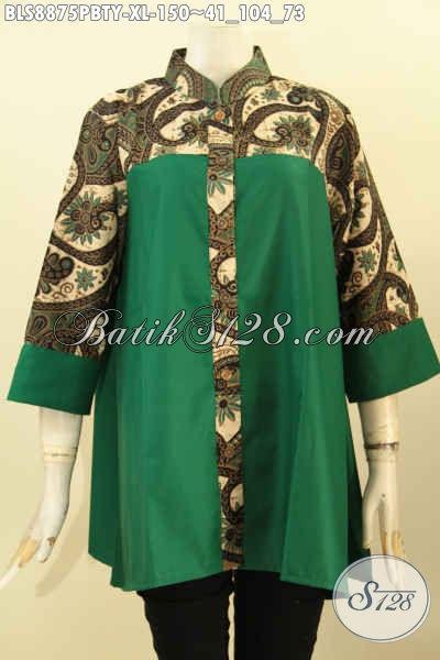 Juragan Baju  Batik Solo Online, Sedia Pakaian Batik Blouse Nan Istimewa Model Kerah Shanghai Motif Bagus Kombinasi Katun Polos Toyobo Warna Hijau Hanya 100 Ribuan Saja