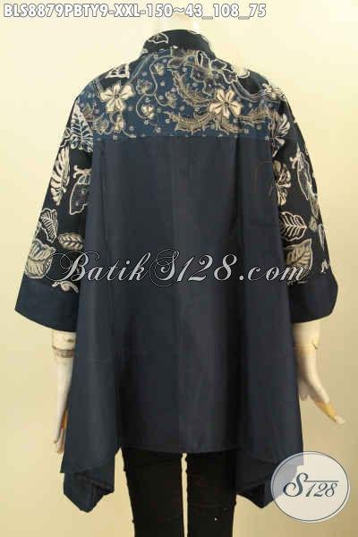 Batik Blouse Wanita Gemuk Size XXL, Busana Batik Modern Kerah Shanghai Motif Bagus Paduan Kain Polos Toyobo Hitam Nan Elegan, Di Jual Online 150K