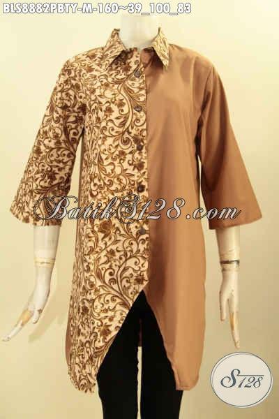 Produk Baju Batik Wanita Menunjang Penampilan Nan Mempesona, Batik Blouse Modern Lengan 3/4 Kerah Lancip Motif Bagus Berpadu Kain Polos Toyobo, Bisa Untuk Acara Santai Maupun Resmi