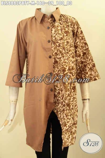 Online Shop Busana Batik Terlengkap, Jual Blouse Batik Modern Lengan 3/4 Motif Bagus Kwalitas Mewah Desain Kerah Lancip, Baju Batik Kombinasi Katun Polos Toyobo, Tampil Keren Dan Trendy