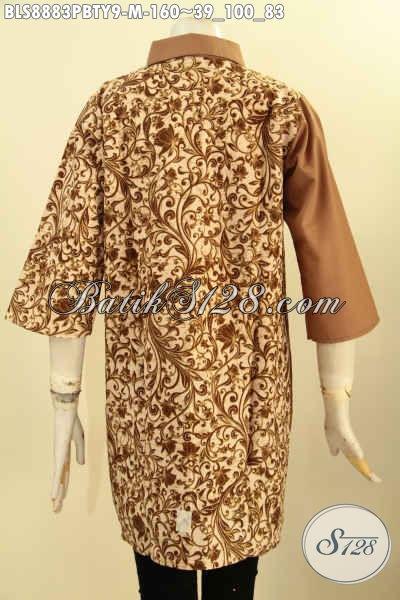 Pakaian Batik Wanita Muda Desain Istimewa, Busana Batik Elegan Dan Berkelas Model Keerah Lancip Dengan Lengan 3/4 Kombinasi Katun Polos Toyobo, Bisa Untuk Acara Santai Dan Resmi [BLS8883PBTY-M]