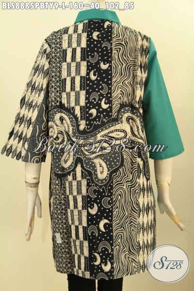 Pakaian Batik Modern Dan Berkelas Desain Kerah Lancip Motif Elegan Dengan Kombinasi  Kain Hijau Toyobo, Blouse Batik Keren Lengan 3/4, Bisa Untuk Acara Formal