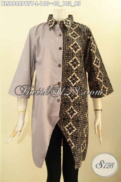 ... Baju Blouse Lengan 3 4 Bahan Kombinasi Batik Dan Katun Polos Toyobo 74add85de2