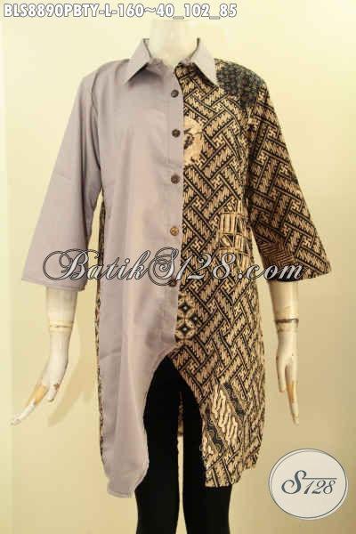 Blouse Batik Solo Jawa Tengah Untuk Wanita Muda Dan Dewasa, Baju Istimewa Kombinasi Batik Dan Katun Polos Toyobo Desain Keren Kerah Lancip Dan Lengan 3/4, Penampilan Anggun Mempesona