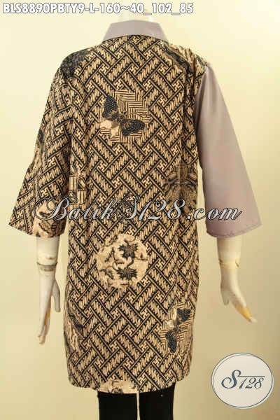 Busana Batik Blouse Untuk Wanita Muda Dan Dewasa, Pakaian Batik Modern Lengan 3/4 Motif Klasik Kombinasi Kain Polos Toyobo Dengan Kerah Model Lancip, Tampil Cantik Dan Trendy [BLS8890PBTY-L]