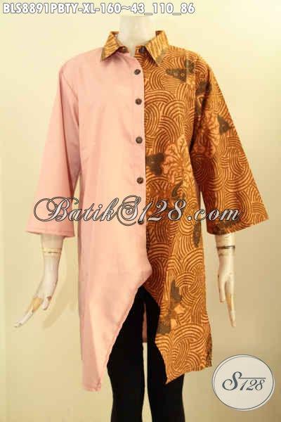 Koleksi Busana Batik Wanita Ukuran XL, Pakaian Batik Modis Lengan 3/4 Dengan Kerah Model Lancip, Busana Berkelas Kombinasi Batik Dan Kain Polos Toyobo, Menunjang Penampilan Nan Mempesona