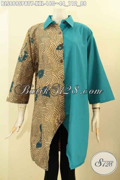 Jual Online Busana Batik Modern Spesial Untuk Wanita Gemuk, Pakaian Batik ELegan Desain Mewah Kerah Lancip Lengan 3/4 Kombinasi Kain Polos Toyobo Hanya 160K [BLS8895PBTY-XXL]