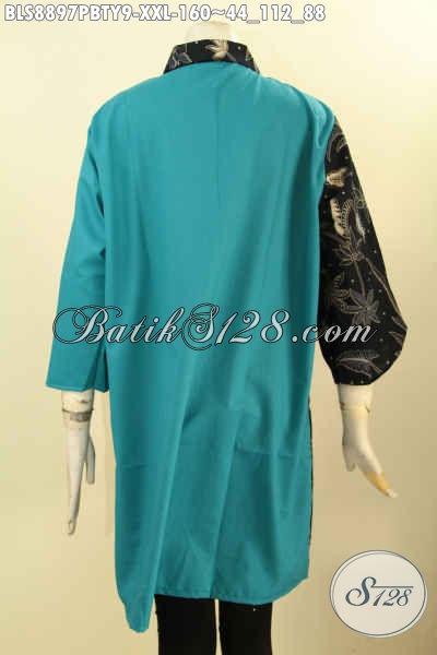 Pusat Baju Batik Online Paling Up To Date, Jual Blouse Kerah Lancip Lengan 3/4, Pakaian Batik Modis Kekinian Motif Bagus Kombinasi Kain Polos Toyobo Kwalitas Istimewa Harga Biasa [BLS8897PBTY-XXL]