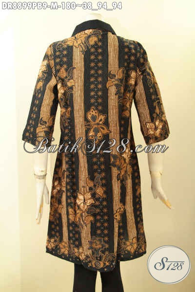 Dress Batik Kombinasi Kera Kain Polos Model Lengan 3/4 Pakaian Resleting Depan, Busana Batik Elegan Motif Bagus Proses Printing Cabut Bahan Adem Nyaman Di Pakai