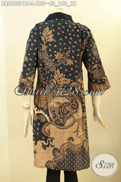 Dress Batik Ukuran L Kerah Kain Polos, Busana Batik Istimewa Lengan 3/4 Dengan Resleting Depan Nan Berkelas Untuk Penampilan Mempesona