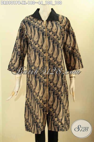 Model Busana Batik Wanita Karir Terkini, Hadir Dengan Motif Klasik Kerah Kain Polos, Dress Batik Kekinian Nan Mewah Berkelas Lengan 3/4 Resleting Depan Bagian Uajung Lengan Belah 8cm