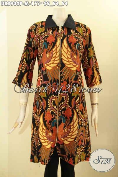 Pakaian Dress Batik Nan Elegan Spesial Buat Wanita Muda, Busana Batik Berkelas Lengan 3/4 Kombinasi Kerah Polos Di Lengkapi Resleting Depan, Menunjang Penampilan Mempesona