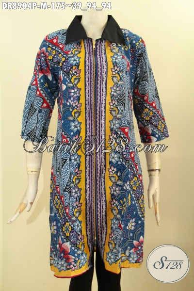 Baju Batik Wanita Motif Mewah, Dress Batik Solo Terbaik Dengan Harga Terjangkau, Model Kerah Polos Lengan 3/4 Pakai Resleting Depan Di Bagian Lengan Belah Kurang Lebih 8cm [DR8904P-M]