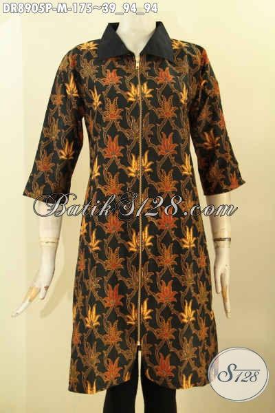 Jual Online Batik Dress Elegan Motif Bagus, Hadir Dengan Desain Lengan 3/4 Kombinasi Kain Polos Kerah Serta Pakai Resleting Depan, Pas Untuk Acara Santai Dan Resmi [DR8905P-M]