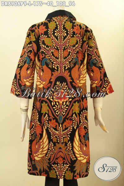 Pakaian Batik Dress Wanita Terbaru, Hadir Dengan Motif Mewah Berkelas Model Lengan 3/4 Bahan Halus Di Lengkapi Resleting Belakang, Menunjang Penampilan Canitk Menawan Proses Printing
