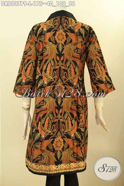 Dress Batik Ukuran L, Pakaian Batik Elegan Desain Mewah Motif Bagus Tren Masa Kini Proses Printing, Istimewa Untuk Kerja Dan Berkelas Buat Kondangan