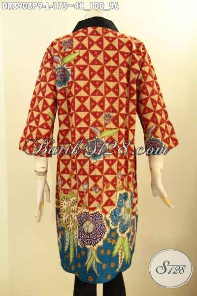 Produk Busana Batik Wanita Modis Dan Kekinian, Pakaian Batik Modern Jawa Tengah Halus Lengan 3/4 Kerah Polos Resleting Depan, Penampilan Cantik Anggun Menawan