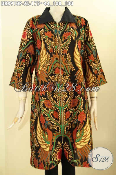 Batik Dress Motif Mewah Prose Printing, Busana Batik Elegan Kerah Polos Lengan 3/4 Dengan Resleting Depan, Menunjang Penampilan Istimewa Dan Sempurna
