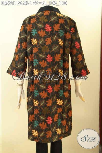 Batik Dress Wanita Dewasa, Busana Batik Berkelas Desain Mewah Lengan 3/4 Bahan Adem Motif Bagus Proses Printing Di Lengkapi Resleting Belakang, Cocok Untuk Kerja Atau Kondangan [DR8911P-XL]
