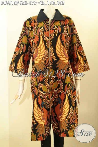 Dress Batik Wanita Gemuk Ukuran XXL, Baju Batik Nan Istimewa Motif Bagus Dan Mewah Bahan Halus Proses Printing, Busana Batik Solo Lengan 3/4 Kerah Polos Resleting Depan Harga 170 Ribuan
