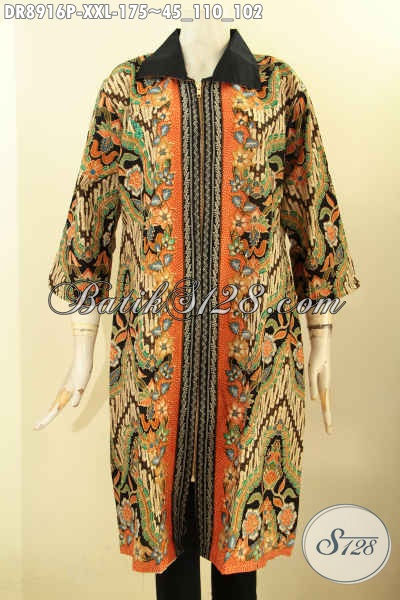Pakaian Batik Dress Solo Jawa Tengah Kekinian Lengan 3/4, Baju Dress Modern Kerah Polos Motif Mewah Resleting Depan Bahan Adem Desain Mewah Exclusive Buat Wanita Gemuk