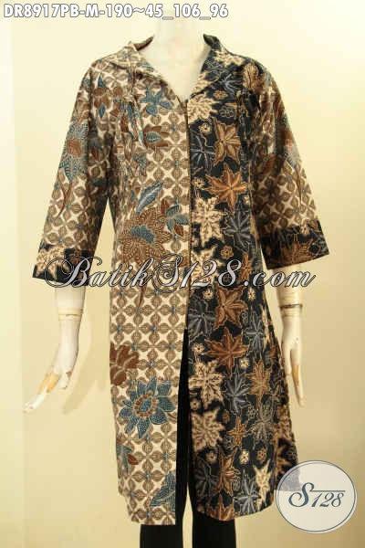 Batik Dress Kwalitas Premium Model Kerah Polos Lengan 3/4, Busana Batik Berkelas Untuk Wanita Muda Karir Sukses