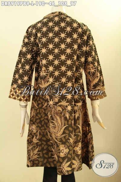 Batik Dress Wanita Desain Isitmewa Cocok Untuk Acara Formal, Pakaian Batik Modis Model Lengan 3/4 Kerah Polos Resleting Belakang, Cocok Juga Untuk Seragam Kerja