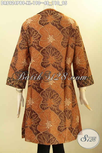 Baju Batik Kombinasi Untuk Wanita Dewasa, Dress Batik Solo Jawa Tengah Nan Elegan Dengan Kerah Langsung Resleting Depan Bahan Adem Motif Klasik Lengan 3/4, Penampilan Lebih Mempesona