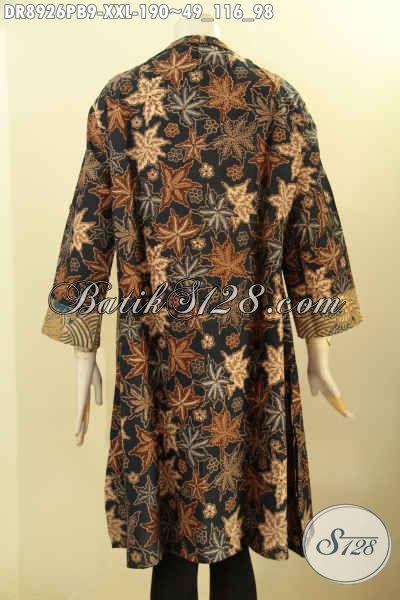 Batik Dress Modern Terbaik, Pakaian Batik Solo Terbaru Lengan 3/4 Dengan Resleting Depan, Busana Batik Jawa Tengah Kerah Langsung Buat Wanita Gemuk Tampil Gaya Dan Berkelas