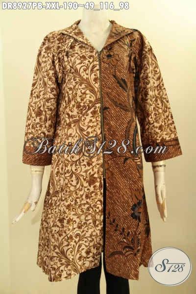 Baju Batik Kombinasi Perempuan, Dress Batik Elegan Mewah Lengan 3/4 Dengan Keeah Model Langsung Motif Bagus Proses Printing Cabut Hanya 190 Ribu Saja [DR8927PB-XXL]
