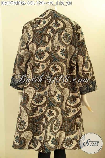 Baju Batik Dress Solo Jawa Tengah Nan Istimewa, Pakaian Batik Halus Motif Mewah Lengan 3/4 Dengan Kerah Langsung Proses Printing Cabut, Busana Batik Kerja Kekinian Yang Membuat Wanita Gemuk Tampil Mempesona