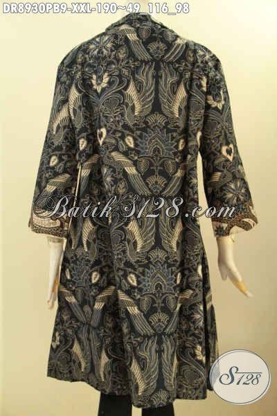 Baju Batik Dress Big Size Nan Elegan Desain Mewah Penampilan Cantik Menawan, Busana Batik Wanita Gemuk Model Terbaru Asli Buatan Solo, Di Jual Online Dengan Harga Terjangkau [DR8930PB-XXL]